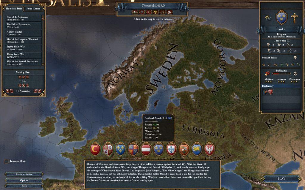 Här väljer vilket land man ska spela som. Sverige räknas som ett nybörjarland.