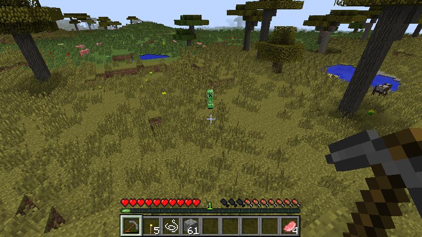 Den gröne där är en creeper, ett vida fruktat monster. Inte tvunget för att det kan döda dig utan för att den lätt kan förstöra många timmars byggande när den exploderar.