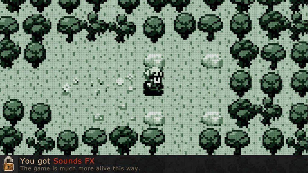 """Screenshot alldeles i början av spelet. I en kista hittades """"sounds FX"""" och jublet vet inga gränser över evolutionen."""