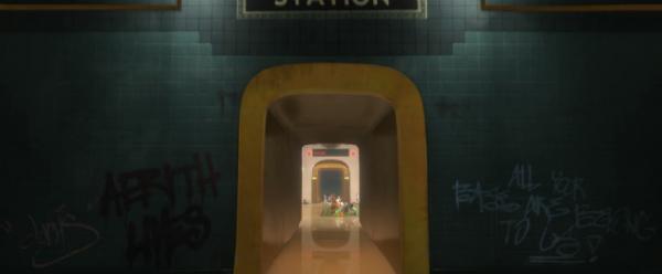 """Referensfest. Klottret i tunnelbanan säger bland annat """"Aerith Lives"""" (hänvisar till Final Fantasy VII) och """"All your base are belong to us"""" (från Sega Mega drive-spelet Zero Wing där översättningen från japanska inte gick jättebra."""