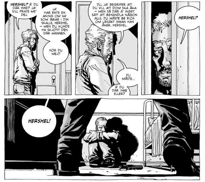 """Bild från The Walking Dead volym 2: """"På drift"""" (Apart Förlag 2011). Tecknad av Charlie Adlard, gråskala av Cliff Rathburn © Robert Kirkman"""