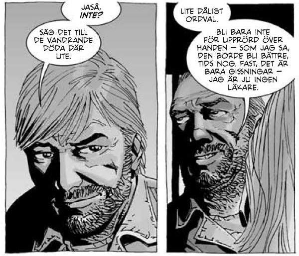 """Meta-översättningen och hyllningen. Bild från The Walking Dead volym 4: """"Köttets lustar"""" (Apart Förlag 2012). Tecknad av Charlie Adlard, gråskala av Cliff Rathburn © Robert Kirkman"""