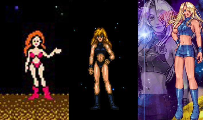 Samus Arans utveckling – ingen alls. Slutscener från vänster – Metroid, Super Metroid och Metroid Fusion.