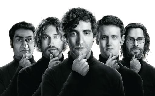 Från vänster: Dinesh (Kumail Nanjiani), Erlich (T.J. Miller), Thomas (Thomas Middleditch), Jared (Zack Woods), Gilfoyle (Martin Starr).