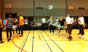 De två semifinalborden. Sammanlagt blev det nio matcher för de två finallagen. Foto: Jonas Bengtsson