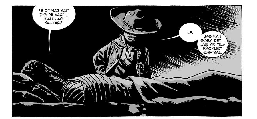 Bildruta från senaste volymen av The Walking Dead. Carl vaktar vid sängen. Bild från Apart förlag.