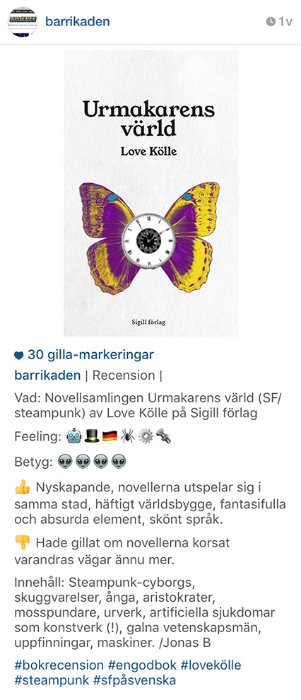 Screenshot från Barrikadens instagramrecension av Urmakarens värld.