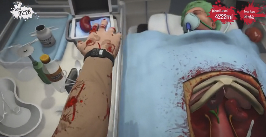 Det slafsas rejält i det svårstyrda spelet Surgeon Simulator: Anniversary Edition till PS4.