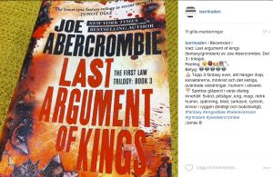 "Joe Abercrombies ""Last Argument of Kings"" fick full pott (5/5) i insta-recensionen."