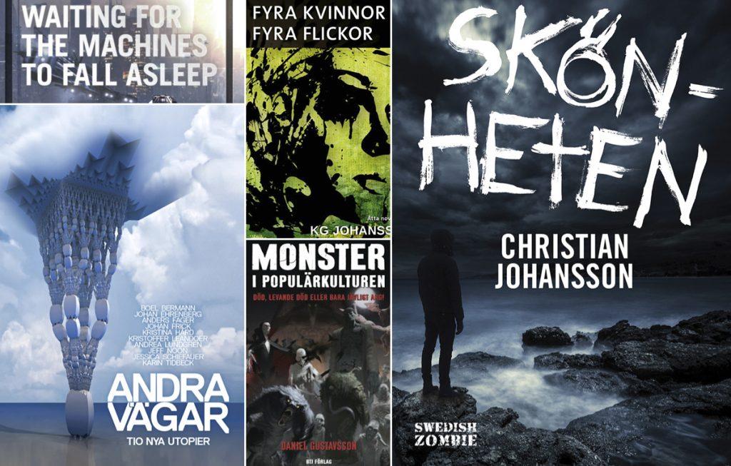 Fem av de 61 lästa böckerna. Fantastikgenren dominerade som synes.