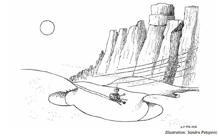 """Illustration till novellen CCs resa av Eira A. Ekre i första numret av """"Brev från Cosmos""""."""