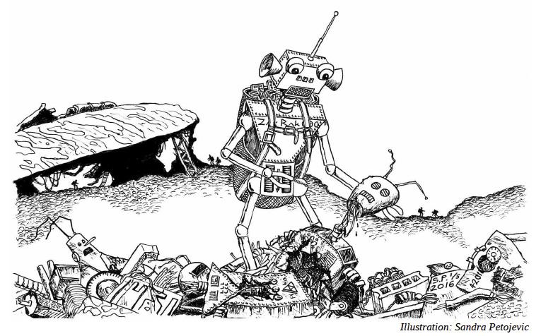"""Illustration till novellen """"Skrotletaren"""" av Joel Arvidsson. Från senaste numret av """"Brev från Cosmos""""."""