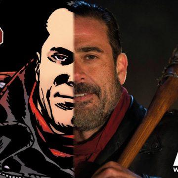 Negan i seriealbumet vs tv-serien. Bild: Apart förlag