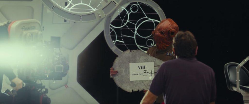 """""""It's a wrap"""", utbrister Admiral Ackbar. Sista inspelningen är gjord för episod VIII. Bild från bakom kulisserna-klippet/youtube."""