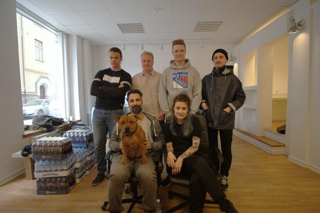 Från vänster; Ted Gradén, Petter Westerlund, Christer Svensson, Jonas Jakobsson. Främre raden Martin Soneby och Ellen Drake-Kaiser. Foto: AMK
