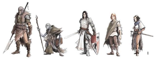 De fem hjältarna i Crestfallen. Illustration av Luka Cakic.