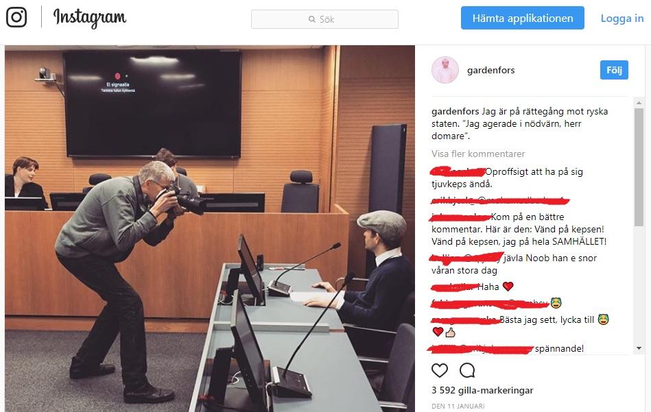 Bild från Simon G:s Instagram på rättegångsdagen.